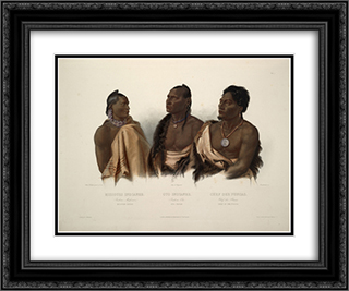 A Missouri Indian, an Oto Indian and the Chief of the Puncas, plate 7 from 'Travels in the Interior of North America' 24x20 Black or Gold Ornate Framed and Double Matted Art Print by Karl Bodmer