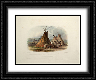 A Skin Lodge of an Assiniboin Chief, plate 16 from Volume 1 of 'Travels in the Interior of North America' 24x20 Black or Gold Ornate Framed and Double Matted Art Print by Karl Bodmer