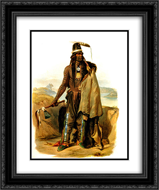 Abdih Hiddisch, Mandan Chief 20x24 Black or Gold Ornate Framed and Double Matted Art Print by Karl Bodmer