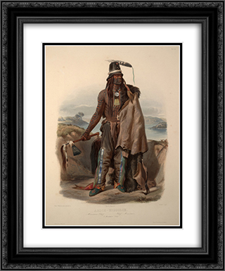 Abdih- Hiddisch. A Minatarre Chief, plate 24 from Volume 1 of 'Travels in the Interior of North America' 20x24 Black or Gold Ornate Framed and Double Matted Art Print by Karl Bodmer
