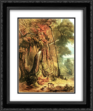 Along the Wabash [ Left ] 20x24 Black or Gold Ornate Framed and Double Matted Art Print by Karl Bodmer