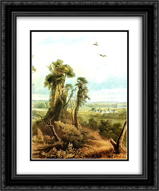 Along the Wabash [ Right ] 20x24 Black or Gold Ornate Framed and Double Matted Art Print by Karl Bodmer