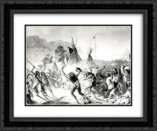Assiniboin and Cree warriors attack Blackfeet 24x20 Black or Gold Ornate Framed and Double Matted Art Print by Karl Bodmer