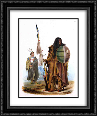Assiniboin Indians 20x24 Black or Gold Ornate Framed and Double Matted Art Print by Karl Bodmer