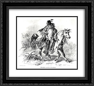 Blackfeet warrior on horseback 22x20 Black or Gold Ornate Framed and Double Matted Art Print by Karl Bodmer