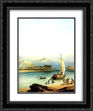 Camp of the Gros Ventres 20x24 Black or Gold Ornate Framed and Double Matted Art Print by Karl Bodmer