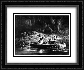Capture of the Daughters of D. Boone and Callaway by the Indians 24x20 Black or Gold Ornate Framed and Double Matted Art Print by Karl Bodmer