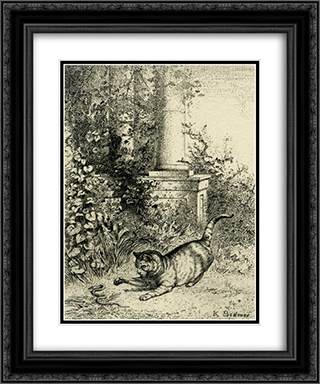 Cat playing with an adder 20x24 Black or Gold Ornate Framed and Double Matted Art Print by Karl Bodmer