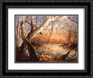 Confluence of the Fox River and the Wabash in Indiana 24x20 Black or Gold Ornate Framed and Double Matted Art Print by Karl Bodmer