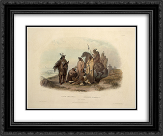 Crow Indians, plate 13 from volume 1 of `Travels in the Interior of North America' 24x20 Black or Gold Ornate Framed and Double Matted Art Print by Karl Bodmer