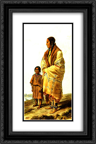 Dacota Woman and Assiniboin Girl, plate 9 from volume 2 of `Travels in the Interior of North America' 16x24 Black or Gold Ornate Framed and Double Matted Art Print by Karl Bodmer