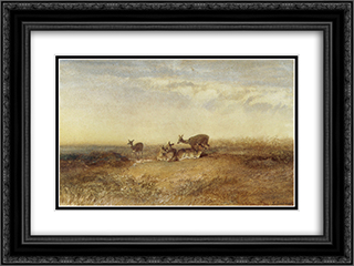 Deer in a Landscape 24x18 Black or Gold Ornate Framed and Double Matted Art Print by Karl Bodmer