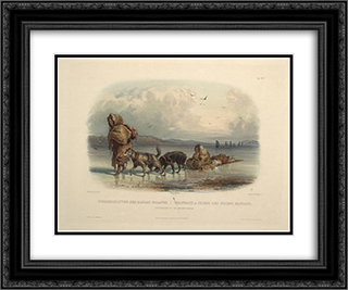 Dog Sledges of the Mandan Indians, plate 28 from Volume 2 of 'Travels in the Interior of North America' 24x20 Black or Gold Ornate Framed and Double Matted Art Print by Karl Bodmer