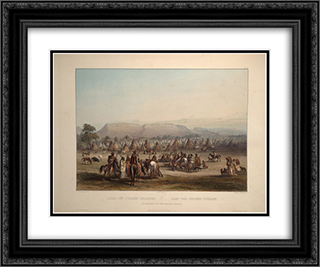 Encampment of the Piekann Indians, plate 43 from Volume 2 of 'Travels in the Interior of North America' 24x20 Black or Gold Ornate Framed and Double Matted Art Print by Karl Bodmer