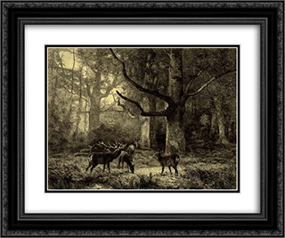 Forest of Fontainbleau 24x20 Black or Gold Ornate Framed and Double Matted Art Print by Karl Bodmer