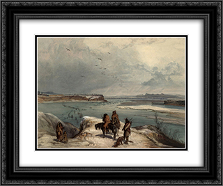 Fort Clark on the Missouri, February 1834, plate 15 from Volume 2 of 'Travels in the Interior of North America' 24x20 Black or Gold Ornate Framed and Double Matted Art Print by Karl Bodmer