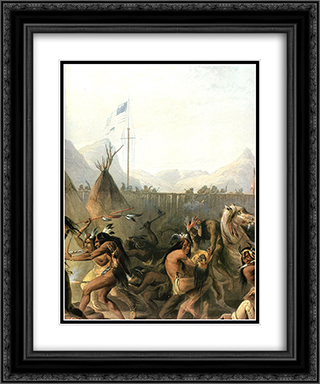 Fort Pierre 20x24 Black or Gold Ornate Framed and Double Matted Art Print by Karl Bodmer