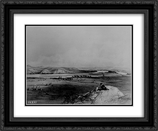 Fort Pierre and the Adjacent Prairie 24x20 Black or Gold Ornate Framed and Double Matted Art Print by Karl Bodmer