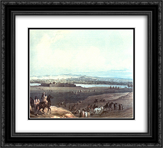 Fort Union on the Missouri 22x20 Black or Gold Ornate Framed and Double Matted Art Print by Karl Bodmer