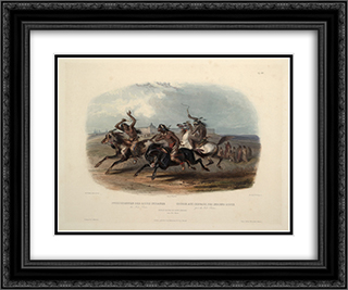 Horse Racing of Sioux Indians near Fort Pierre, plate 30 from Volume 1 of 'Travels in the Interior of North America' 24x20 Black or Gold Ornate Framed and Double Matted Art Print by Karl Bodmer