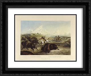Indians hunting the bison, plate 31 from Volume 2 of 'Travels in the Interior of North America' 24x20 Black or Gold Ornate Framed and Double Matted Art Print by Karl Bodmer
