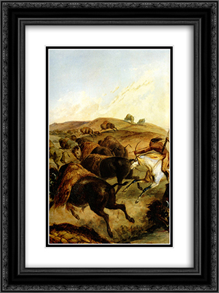 Indians Hunting The Bison [ Left ] 18x24 Black or Gold Ornate Framed and Double Matted Art Print by Karl Bodmer