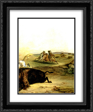 Indians Hunting The Bison [ Right ] 20x24 Black or Gold Ornate Framed and Double Matted Art Print by Karl Bodmer