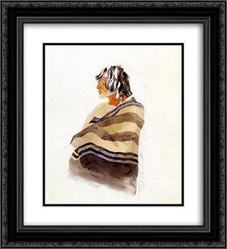 Kiasax, a Piegen Blackfeet Warrior 20x22 Black or Gold Ornate Framed and Double Matted Art Print by Karl Bodmer