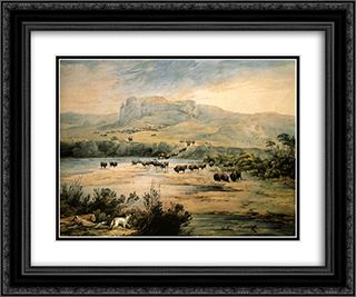Landscape with buffalo on the upper Missouri 24x20 Black or Gold Ornate Framed and Double Matted Art Print by Karl Bodmer