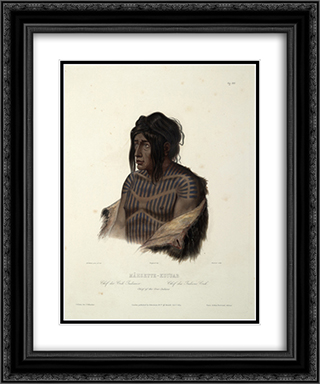Mahsette-Kuiuab, Chief of the Cree Indians, plate 22 from volume 1 of `Travels in the Interior of North America' 20x24 Black or Gold Ornate Framed and Double Matted Art Print by Karl Bodmer