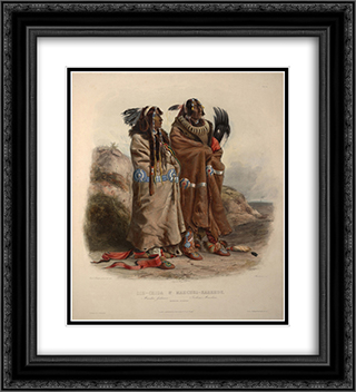 Mandan indians 20x22 Black or Gold Ornate Framed and Double Matted Art Print by Karl Bodmer