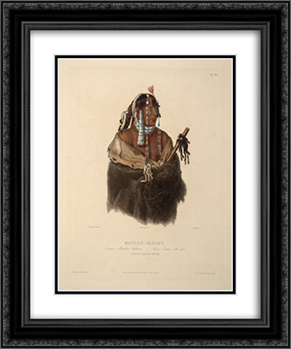 Mandeh Pahchu, a Young Mandan Indian, plate 24 from Volume 1 of 'Travels in the Interior of North America' 20x24 Black or Gold Ornate Framed and Double Matted Art Print by Karl Bodmer