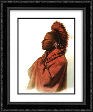 Massika-Saki Indian, Wakusasse-Musquake Indian, plate 3 from Volume 1 of 'Travels in the Interior of North America' 20x24 Black or Gold Ornate Framed and Double Matted Art Print by Karl Bodmer