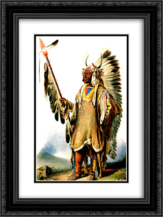 Mato Tope Mandan Chief 18x24 Black or Gold Ornate Framed and Double Matted Art Print by Karl Bodmer