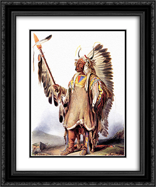Mato-Tope, a Mandan chief 20x24 Black or Gold Ornate Framed and Double Matted Art Print by Karl Bodmer
