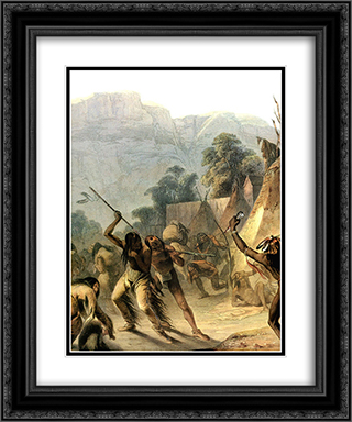 Missouri Indians 20x24 Black or Gold Ornate Framed and Double Matted Art Print by Karl Bodmer