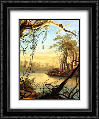 Mouth of the Wabash [ Indiana ] 20x24 Black or Gold Ornate Framed and Double Matted Art Print by Karl Bodmer