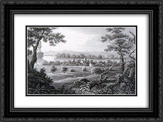 New Harmony 24x18 Black or Gold Ornate Framed and Double Matted Art Print by Karl Bodmer