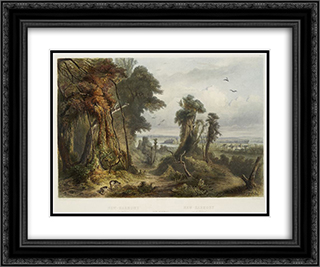 New Harmony on the Wabash, plate 2 from Volume 2 of 'Travels in the Interior of North America' 24x20 Black or Gold Ornate Framed and Double Matted Art Print by Karl Bodmer