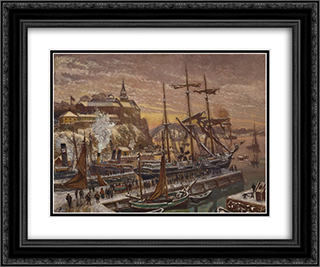 From Christiania Harbour 24x20 Black or Gold Ornate Framed and Double Matted Art Print by Karl Edvard Diriks