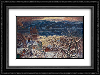 From Drobaksundet 24x18 Black or Gold Ornate Framed and Double Matted Art Print by Karl Edvard Diriks