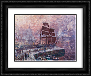 Grey weather at Pipervika, Akershus 24x20 Black or Gold Ornate Framed and Double Matted Art Print by Karl Edvard Diriks