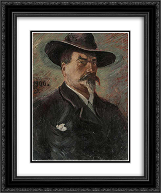 Self-Portrait 20x24 Black or Gold Ornate Framed and Double Matted Art Print by Karl Edvard Diriks