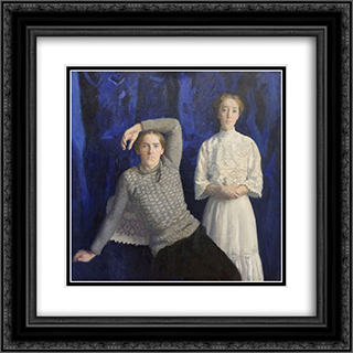 Beni and Noemi 20x20 Black or Gold Ornate Framed and Double Matted Art Print by Karoly Ferenczy