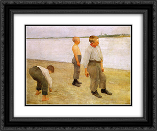 Boys Throwing Pebbles into the River 24x20 Black or Gold Ornate Framed and Double Matted Art Print by Karoly Ferenczy