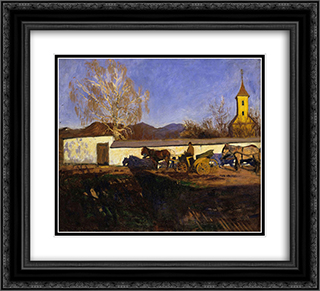 Evening in March 22x20 Black or Gold Ornate Framed and Double Matted Art Print by Karoly Ferenczy