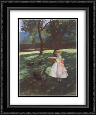Feeding the Chickens 20x24 Black or Gold Ornate Framed and Double Matted Art Print by Karoly Ferenczy