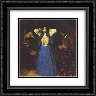 Gipsies 20x20 Black or Gold Ornate Framed and Double Matted Art Print by Karoly Ferenczy