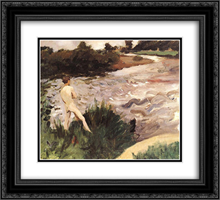 Gloomy Landscape with Bather 22x20 Black or Gold Ornate Framed and Double Matted Art Print by Karoly Ferenczy