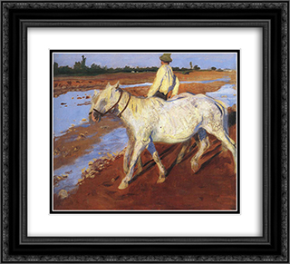 Horses 22x20 Black or Gold Ornate Framed and Double Matted Art Print by Karoly Ferenczy